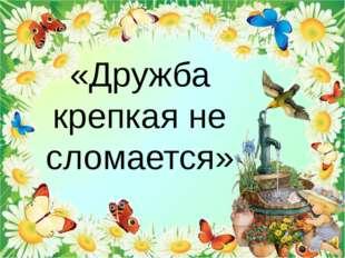 «Дружба крепкая не сломается»