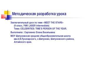 Методическая разработка урока Заключительный урок по теме «MEET THE STARS» (9