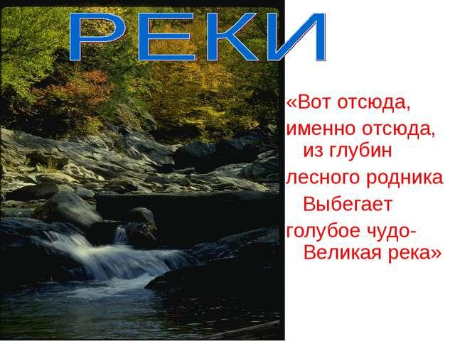 «Вот отсюда, именно отсюда, из глубин лесного родника Выбегает голубое чудо-...