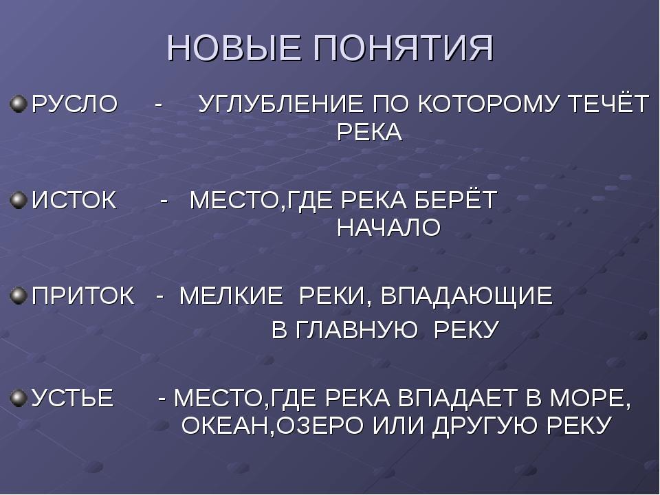 НОВЫЕ ПОНЯТИЯ РУСЛО - УГЛУБЛЕНИЕ ПО КОТОРОМУ ТЕЧЁТ РЕКА ИСТОК - МЕСТО,ГД...