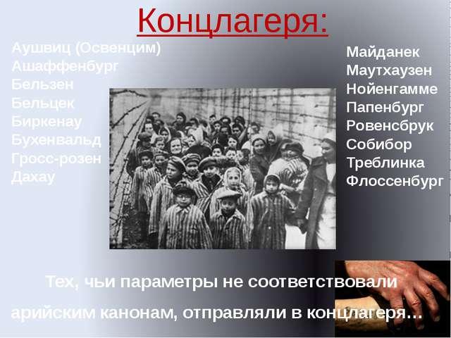 Тех, чьи параметры не соответствовали арийским канонам, отправляли в концлаге...