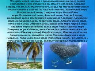 Площадь морей, заливов и проливов Атлантического океана составляет 14,69 милл
