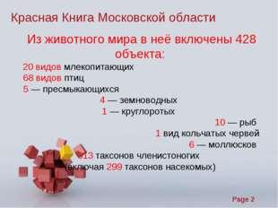 Красная Книга Московской области Из животного мира в неё включены 428 объект