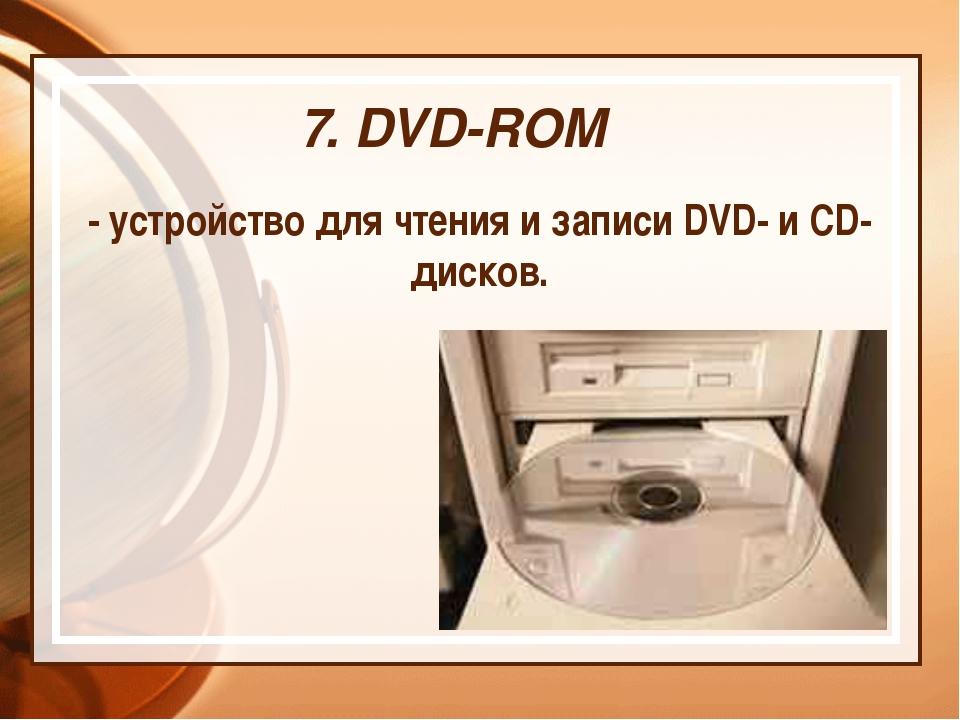 7. DVD-ROM - устройство для чтения и записи DVD- и CD- дисков.