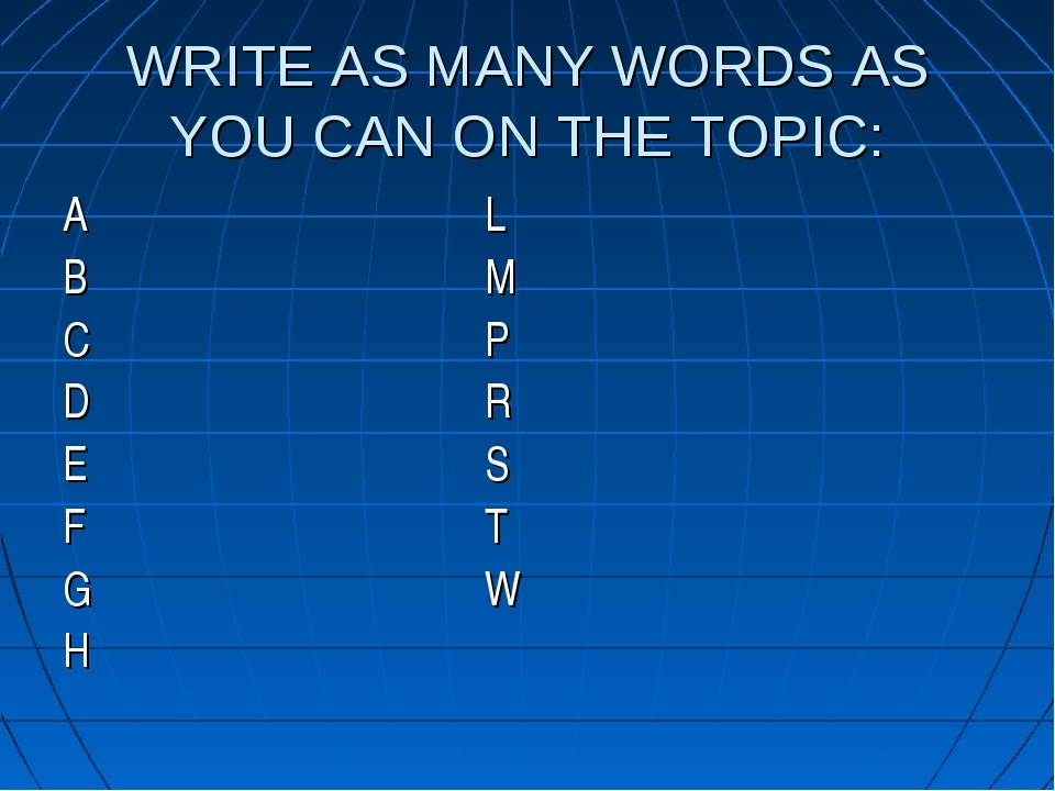 WRITE AS MANY WORDS AS YOU CAN ON THE TOPIC: AL BM CP DR...