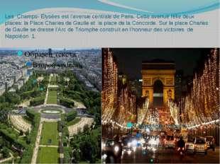Les Champs- Elysées est l'avenue centrale de Paris. Cette avenue relie deux p