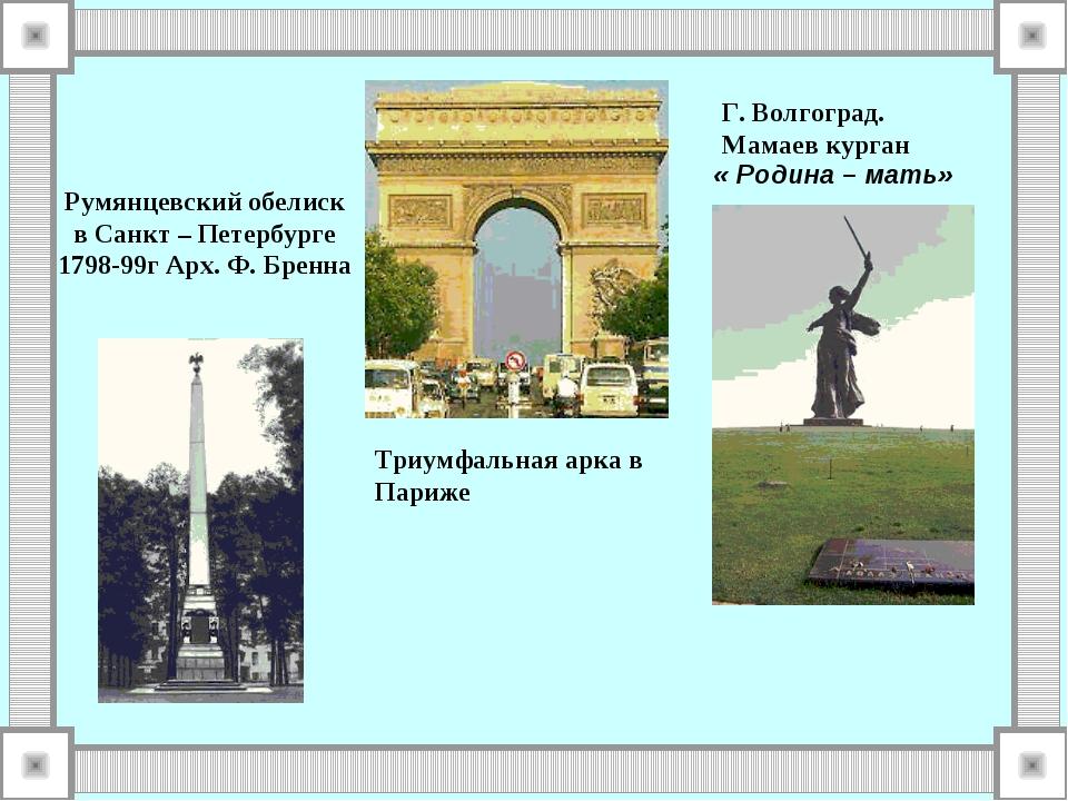 Румянцевский обелиск в Санкт – Петербурге 1798-99г Арх. Ф. Бренна Триумфальна...