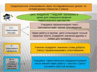 Среднесрочное планирование серии последовательных уроков по литературному чте