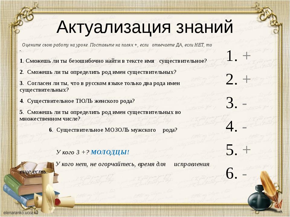 Актуализация знаний Оцените свою работу на уроке. Поставьте на полях +, если...