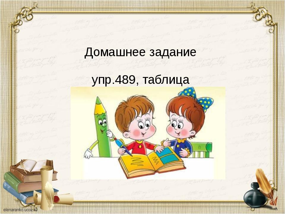 Домашнее задание упр.489, таблица урок окончен!!!