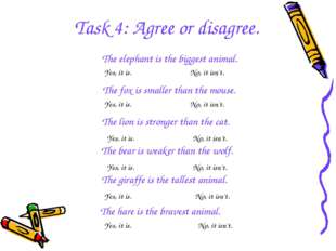 Task 4: Agree or disagree. The elephant is the biggest animal. The fox is sma