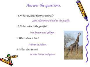 1. What is Sam's favorite animal? Sam`s favorite animal is the giraffe. 2. Wh