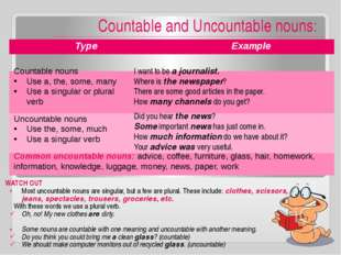 Countable and Uncountable nouns: WATCH OUT Most uncountable nouns are singul