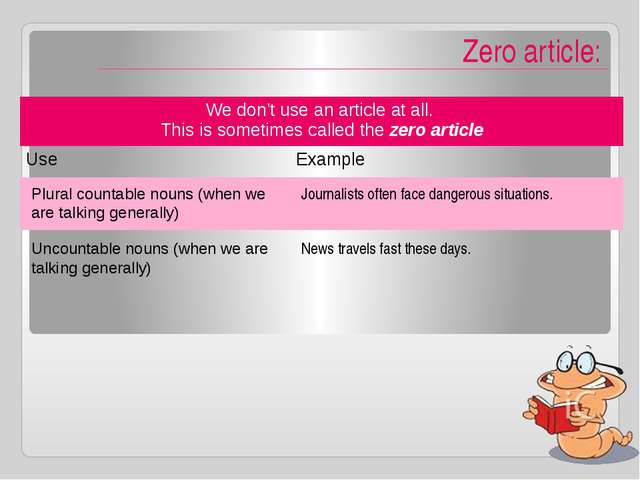 Zero article: Plural countable nouns (when we are talking generally) Journal...
