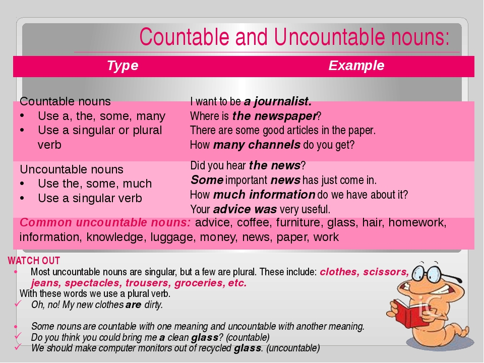 Countable and Uncountable nouns: WATCH OUT Most uncountable nouns are singul...
