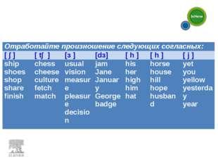 Отработайте произношение следующих согласных: [ ∫ ][ t∫ ][з ][dз][ h ][