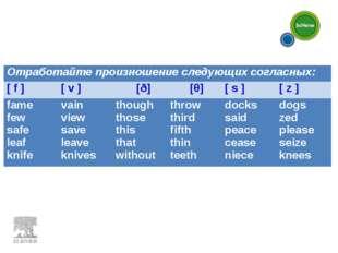 Отработайте произношение следующих согласных: [ f ][ v ][ð][θ][ s ][
