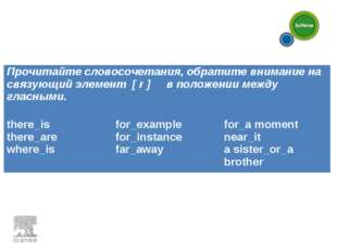 Прочитайте словосочетания, обратите внимание на связующий элемент [ r ] в пол