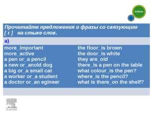 Прочитайте предложения и фразы со связующим [ r ] на стыке слов. a) more_im