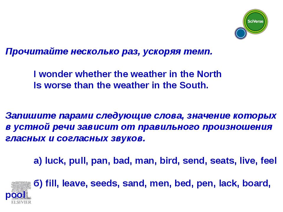 Прочитайте несколько раз, ускоряя темп.  I wonder whether the weather in th...