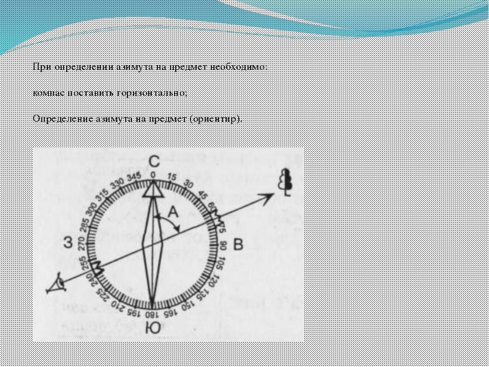 При определении азимута на предмет необходимо:  компас поставить горизонтал...