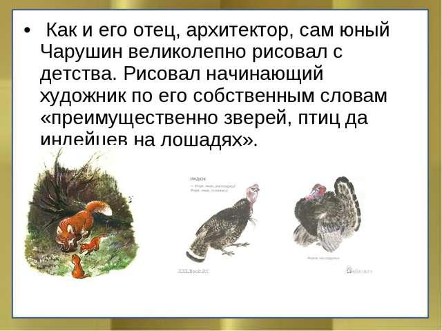 Как и его отец, архитектор, сам юный Чарушин великолепно рисовал с детства....