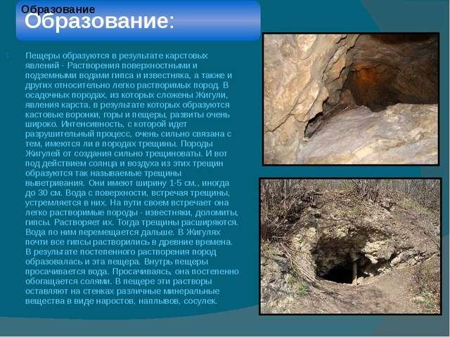 Пещеры образуются в результате карстовых явлений - Растворения поверхностными...