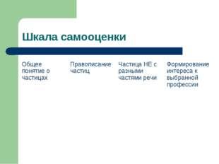 Шкала самооценки Общее понятие о частицахПравописание частицЧастица НЕ с ра