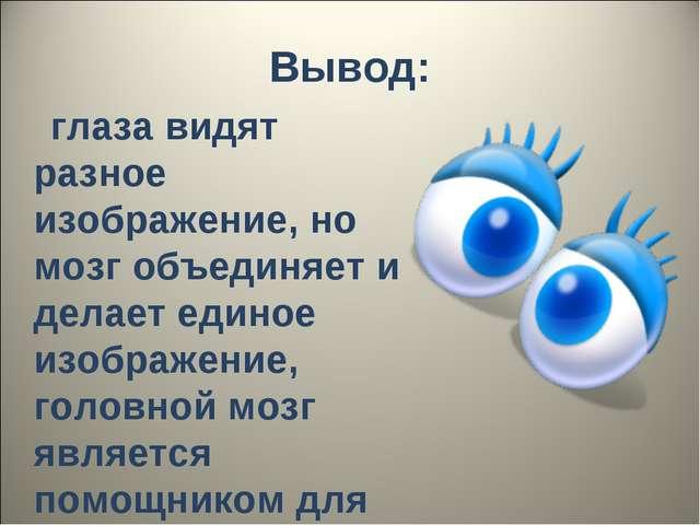 Вывод: глаза видят разное изображение, но мозг объединяет и делает единое изо...