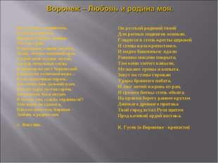 Все это здесь соединилось, В мой краткий век, Воронеж! Родина. Любовь. Что та