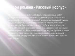 Герои романа «Раковый корпус» Остальные больные: рабочий Ефрем, в Гражданскую