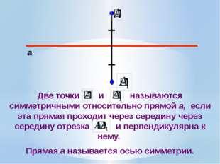 а Две точки и называются симметричными относительно прямой а, если эта пряма