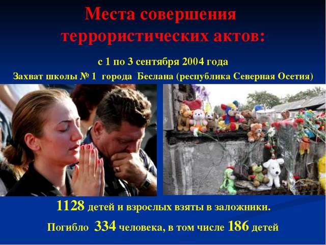 Места совершения террористических актов: с 1 по 3 сентября 2004 года Захват ш...
