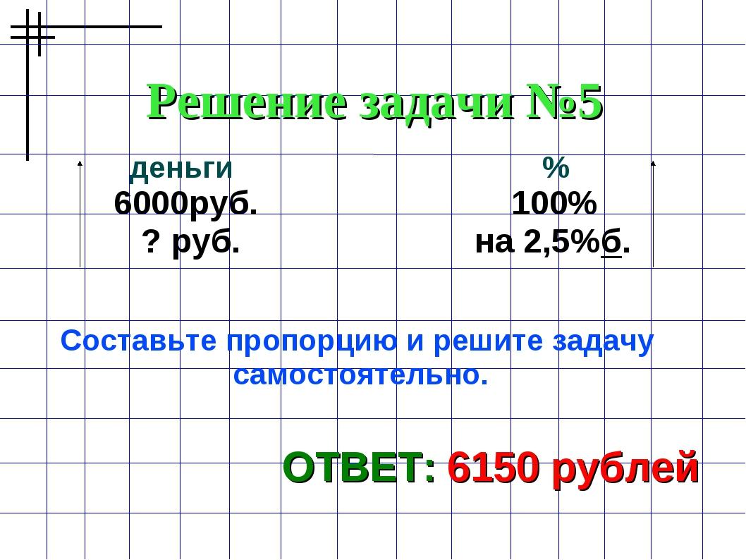 Решение задачи №5 ОТВЕТ: 6150 рублей деньги % 6000руб. 100% ? руб. на 2,5%б....