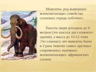 Мамонты- род вымерших млекопитающих семейства слоновых отряда хоботных.