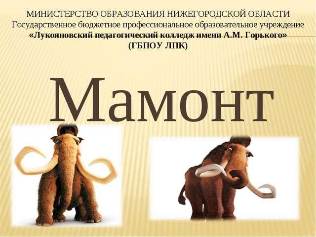 Мамонт МИНИСТЕРСТВО ОБРАЗОВАНИЯ НИЖЕГОРОДСКОЙ ОБЛАСТИ Государственное бюджетн...