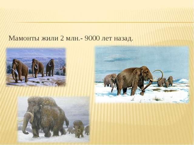 Мамонты жили 2 млн.- 9000 лет назад.