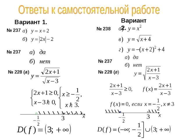 Вариант 1. Вариант 2. № 237 № 238 № 237 № 237 № 228 (а) № 228 (в) х х