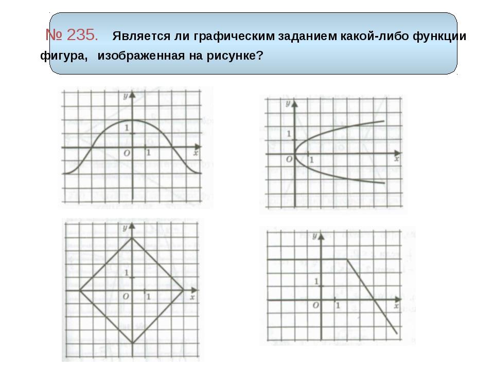 № 235. Является ли графическим заданием какой-либо функции фигура, изображен...