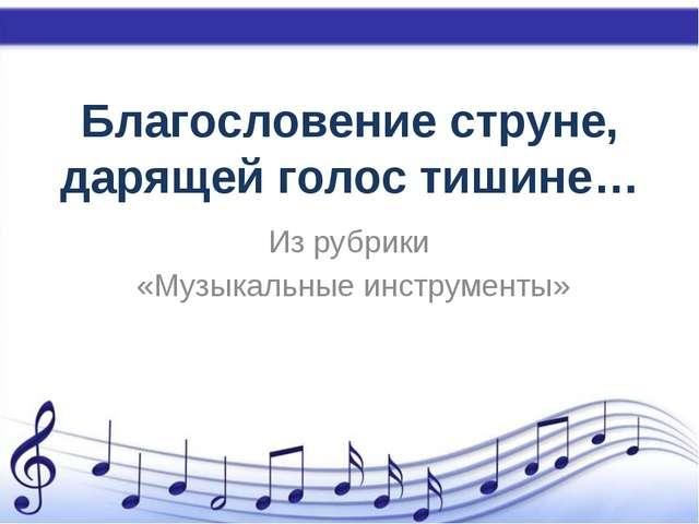 Благословение струне, дарящей голос тишине… Из рубрики «Музыкальные инструмен...