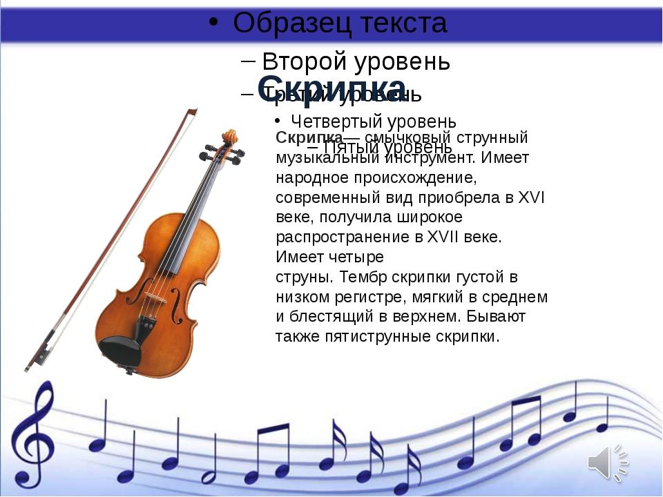 Скрипка Скрипка— смычковыйструнный музыкальный инструмент. Имеет народное пр...