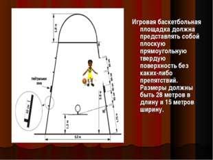 Игровая баскетбольная площадка должна представлять собой плоскую прямоугольну