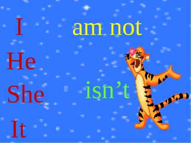 I He She It am not isn't