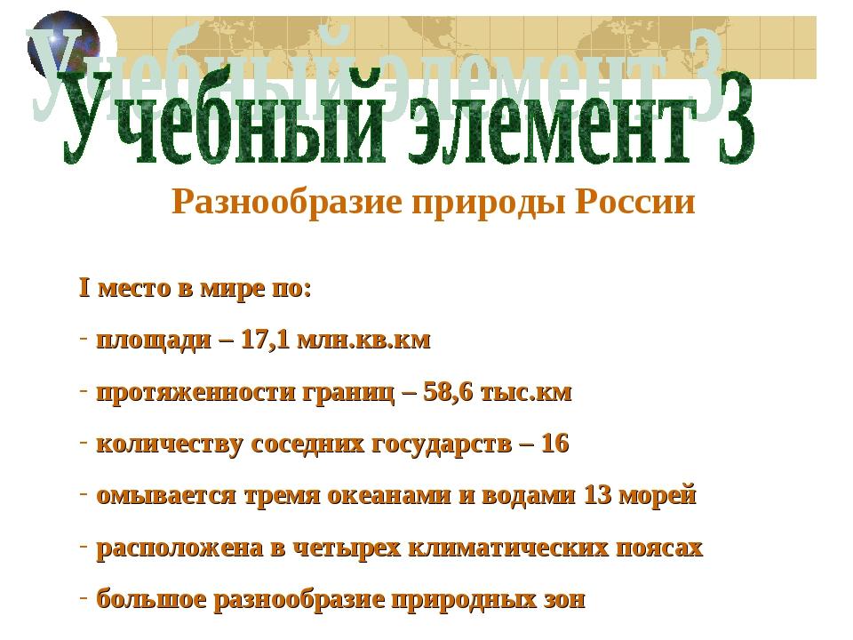 Разнообразие природы России I место в мире по: площади – 17,1 млн.кв.км протя...