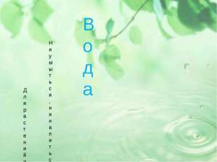 Вода Вода Ни умыться, ни напиться без воды, Листику не распуститься без воды,