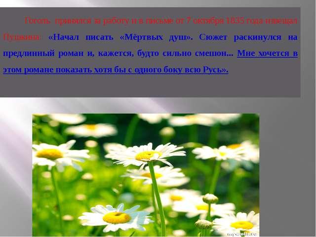 Гоголь принялся за работу и в письме от 7 октября 1835 года извещал Пушкина:...