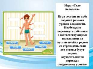 Игра «Тело человека» Игра состоит из трёх заданий разного уровня сложности. Н