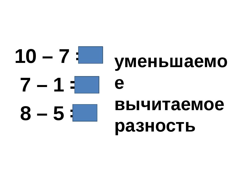 10 – 7 = 3 7 – 1 = 6 8 – 5 = 3 уменьшаемое вычитаемое разность
