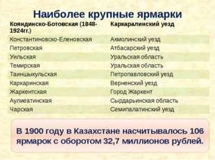 Наиболее крупные ярмарки В 1900 году в Казахстане насчитывалось 106 ярмарок с