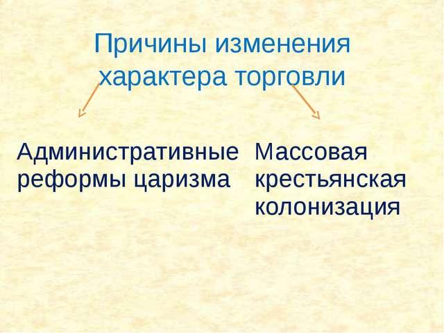 Причины изменения характера торговли Административные реформы царизма Массова...